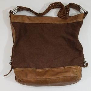 Fossil leather and canvas shoulder bag